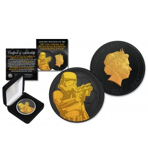 2018 NZM Niue 1 oz Pure Silver BU Star Wars STORMTROOPER Coin BLACK RUTHENIUM with 24KT Gold Clad Highlights