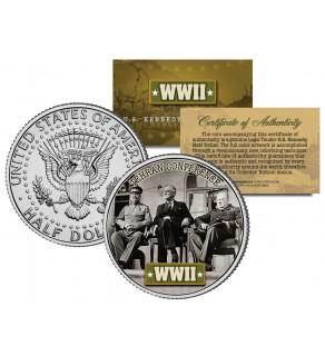 World War II - TEHRAN CONFERENCE - JFK Kennedy Half Dollar U.S. Coin