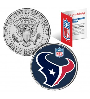 HOUSTON TEXANS NFL JFK Kennedy Half Dollar US Colorized Coin - Officially Licensed
