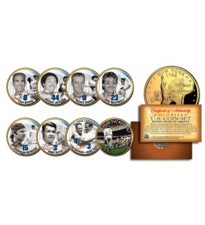 YANKEES LEGENDS 24K Gold Plated NY State Quarters US 7-Coin Set + Bonus Babe Ruth