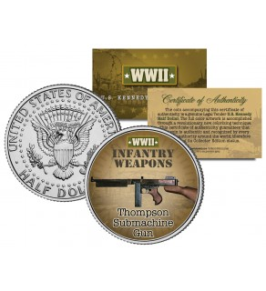 THOMPSON SUBMACHINE GUN - WWII Infantry Weapons - JFK Half Dollar U.S. Coin