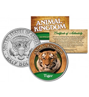 TIGER - Animal Kingdom Series - JFK Kennedy Half Dollar U.S. Colorized Coin