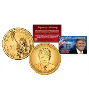 DONALD J. TRUMP Official 45th President Golden-Hue PRESIDENTIAL DOLLAR $1 U.S. Legal Tender Coin