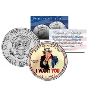 "Uncle Sam "" I Want You "" - 200th Anniversary - JFK Kennedy Half Dollar US Colorized Coin"