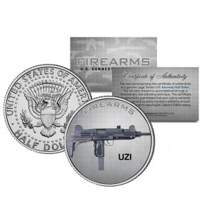 UZI Gun Firearm JFK Kennedy Half Dollar US Colorized Coin