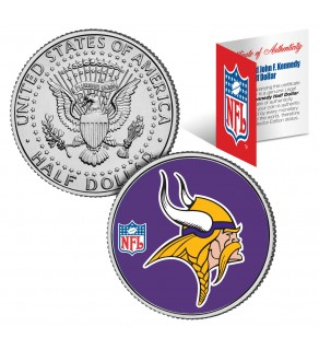 MINNESOTA VIKINGS NFL JFK Kennedy Half Dollar US Colorized Coin - Officially Licensed