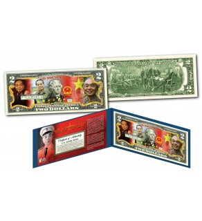 VO NGUYEN GIAP * Vietnam Icon & General * Official Colorized U.S. Genuine Legal Tender U.S. $2 Bill with Certificate & Display Folio
