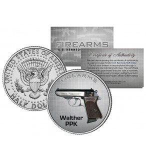 WALTHER PPK Gun Firearm JFK Kennedy Half Dollar US Colorized Coin