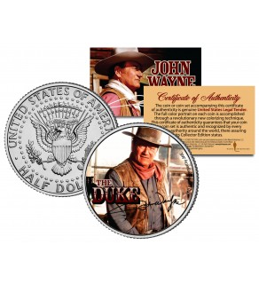 "JOHN WAYNE - THE DUKE "" Chisum "" JFK Kennedy Half Dollar US Coin - Officially Licensed"
