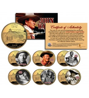 JOHN WAYNE MOVIES Colorized Iowa 24K Gold Plated Quarters US 6-Coin Set - Officially Licensed