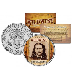 WILD BILL HICKOK - Wild West Series - JFK Kennedy Half Dollar U.S. Colorized Coin