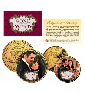 GONE WITH THE WIND Georgia Quarter & JFK Half Dollar US 2-Coin Set 24K Gold Plated - Officially Licensed