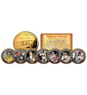 DALE EARNHARDT - 7-Time Champ - 24K Gold Plated North Carolina Quarters US 7-Coin Set - Officially Licensed