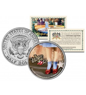 "WIZARD OF OZ "" Ruby Red Slippers "" JFK Kennedy Half Dollar US Coin - Officially Licensed"