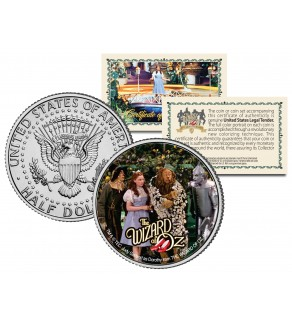 "WIZARD OF OZ ""Cast Scene  "" JFK Kennedy Half Dollar US Coin - Officially Licensed"