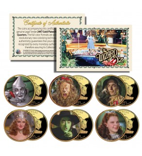 WIZARD OF OZ Kansas US Statehood Quarter US 24K Gold Plated 6-Coin Set - Officially Licensed