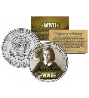 World War II - ANNE FRANK - Colorized JFK Kennedy Half Dollar US Coin - THE HOLOCAUST - THE DIARY OF ANNE FRANK
