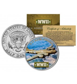 World War II - B-17 FLYING FORTRESS - Colorized JFK Kennedy Half Dollar Coin - BOEING BOMBER