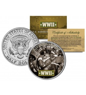 World War II - B-17 FLYING FORTRESS - Colorized JFK Kennedy Half Dollar Coin - BOEING GUNNERS