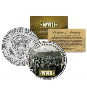 World War II - THE HOLOCAUST - Colorized JFK Kennedy Half Dollar US Coin - DAYS OF REMEMBRANCE
