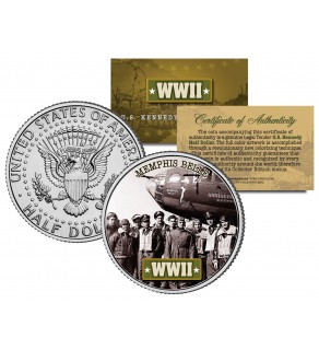 World War II - MEMPHIS BELLE - Colorized JFK Kennedy Half Dollar Coin - B-17 FLYING FORTRESS