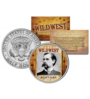 WYATT EARP - Wild West Series - JFK Kennedy Half Dollar U.S. Colorized Coin