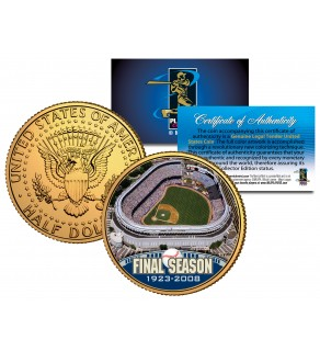 OLD YANKEE STADIUM 2008 JFK Kennedy Half Dollar Coin 24K Gold Plated HOUSE THAT RUTH BUILT