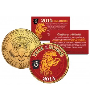 2014 Chinese New Year YEAR OF THE HORSE 24K Gold Plated JFK Kennedy Half Dollar US Coin