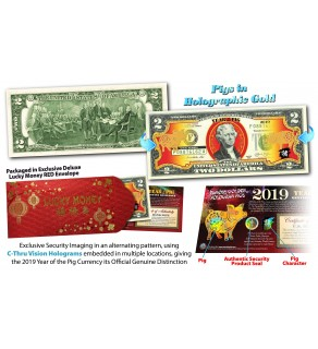 2019 Chinese New Year - YEAR OF THE PIG - Gold Hologram Legal Tender U.S. $2 BILL - $2 Lucky Money with Red Envelope **SOLD OUT**