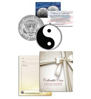 YIN YANG - BALANCE HARMONY - Keepsake Gift JFK Kennedy Half Dollar US Colorized Coin
