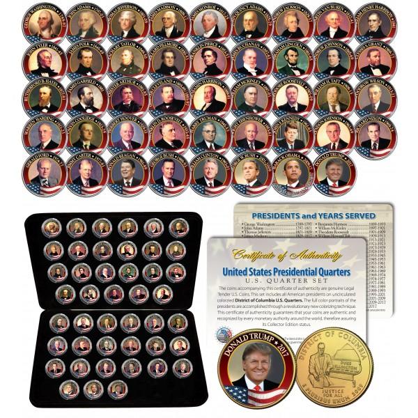 2015 Presidential $1 Dollar 24K GOLD PLATED President 4-Coin Full Set w//Capsules