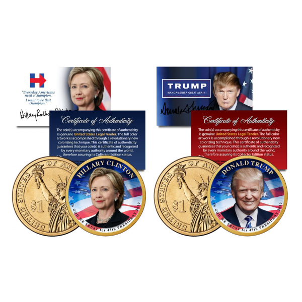 donald trump 45th president colorized currency and coin collection