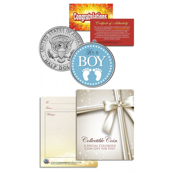 "Colorized Coin /""It/'s a Boy/"" Baby Gift  Keepsake JFK Kennedy Half Dollar U.S"