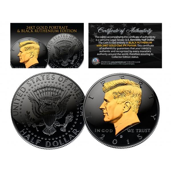 Coin 2-SIDED 24K Gold 2019 Black RUTHENIUM JFK Half Dollar U.S D-MINT