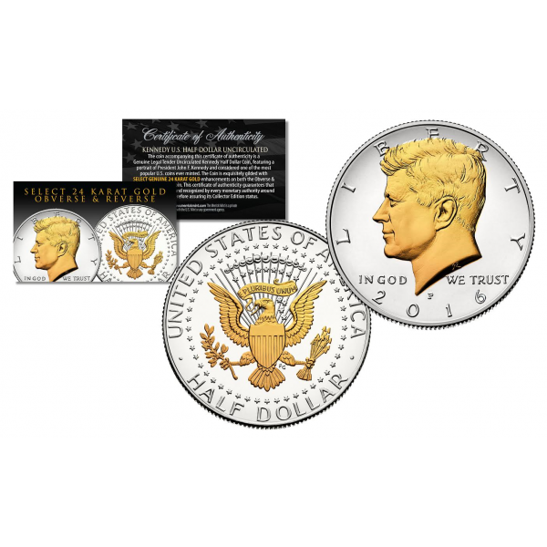 P Mint BUY 1 GET 1 FREE 2019-P 24K GOLD Gilded JFK Kennedy Half Dollar Coin