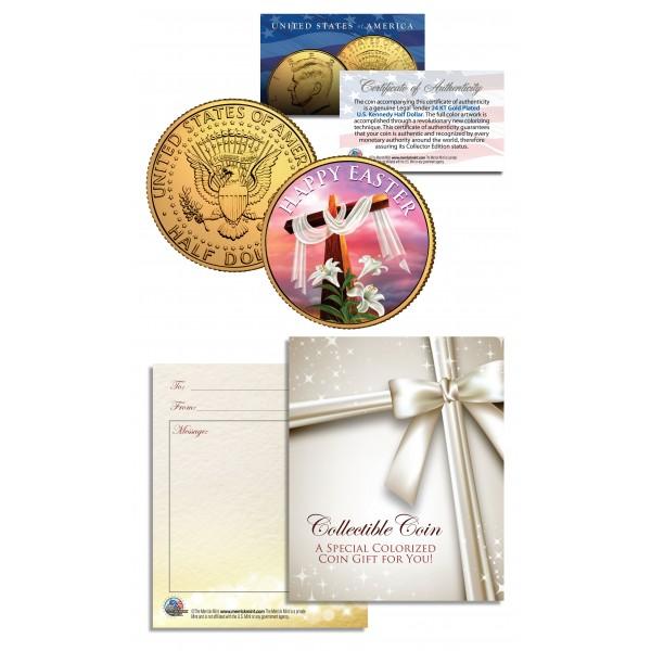 Easter religious gift jfk kennedy half dollar coin 24k gold plated happy easter religious gift jfk kennedy half dollar coin 24k gold plated negle Gallery