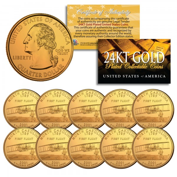 2001 North Carolina State Quarters Us Mint Bu Coins 24k Gold