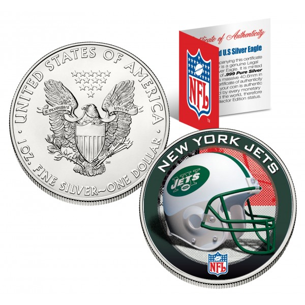 New York Jets 1 Oz American Silver Eagle 1 Us Coin
