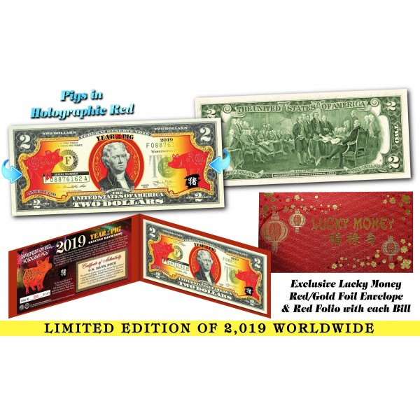 2019 Chinese New Year - YEAR OF THE PIG - Red Hologram Legal Tender