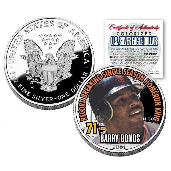 Barry Bonds 2001 American Silver Eagle Dollar 1 Oz U S