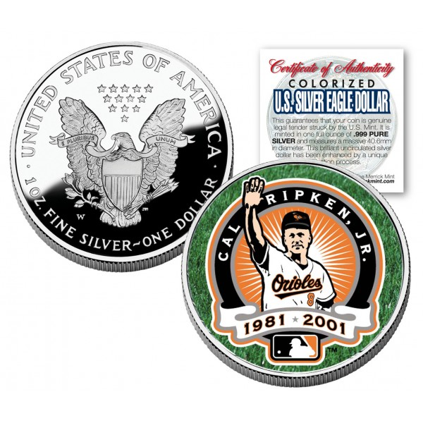 Cal Ripken Jr 2001 American Silver Eagle Dollar 1 Oz