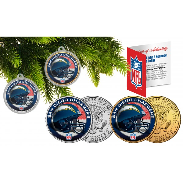 San Diego Chargers Christmas Ornaments: SAN DIEGO CHARGERS Colorized JFK Half Dollar US 2-Coin Set
