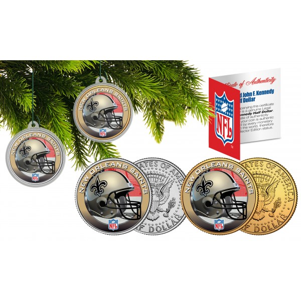New Orleans Saints Christmas Ornaments.New Orleans Saints Colorized Jfk Half Dollar Us 2 Coin Set