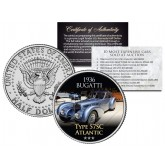 1936 BUGATTI - TYPE 57SC ATLANTIC - Most Expensive Cars Sold at Auction - Colorized JFK Half Dollar U.S. Coin