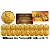 1943 Genuine Steel WWII Lincoln Wheat Penny US Coin 24K GOLD PLATED (QTY: 20)