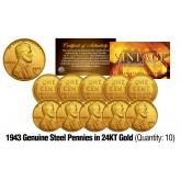 1943 Genuine Steel WWII Lincoln Wheat Penny US Coin 24K GOLD PLATED (QTY: 10)