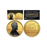 24K GOLD Clad 1943 Genuine Steel Wartime Wheat Penny U.S. Coin with BLACK RUTHENIUM Lincoln Portrait