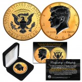 1964 BU Genuine Silver Kennedy Half Dollar U.S. Coin 2-Sided 24K GOLD Gilded & BLACK RUTHENIUM Highlights with Box