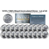 1970's-1980's DIMES Mixed Uncirculated U.S. Coins Direct from U.S. Mint Cello Packs (QTY 20)