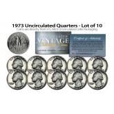 1973 QUARTERS Uncirculated U.S. Coins Direct from U.S. Mint Cello Packs (QTY 10)